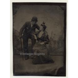 Dressed Up Couple In Love / Victorian Era (Vintage Ferrotype...