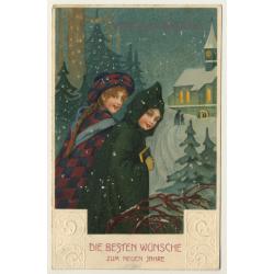 New Year Greetings: Kids In Snow (Vintage PC Germany 1912)