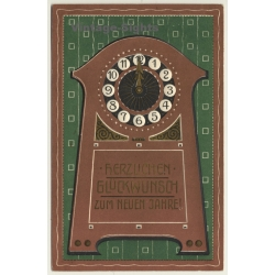 New Year Greetings: Grandfather Clock (Vintage PC Germany 1909)