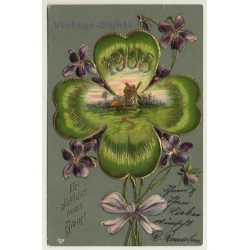 New Year Greetings: Windmill - Flowers (Vintage PC Germany 1908)