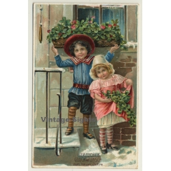 New Year Greetings: Young Kids In Costums (Vintage PC Germany...