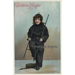 New Year Greetings: Sweet Girl Chimney Sweeper - Ladder...