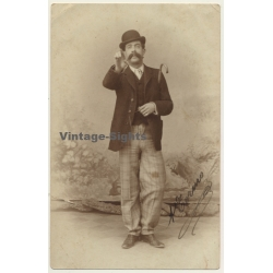 Portrait Of Spanish Dandy / Bowler & Big Moustache (Vintage...