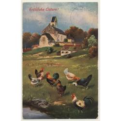 Fröhliche Ostern: Rooster & Chicken - Poultry (Vintage Artist...