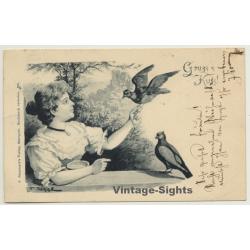 Gruss & Kuss: Woman & 2 Pigeons / Tauben - Poultry (Vintage...