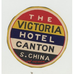 The Victoria Hotel - Canton / S. China (Vintage Luggage Label)