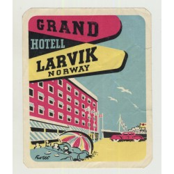 Grand Hotell - Larvik / Norway (Vintage Luggage Label 1950s)