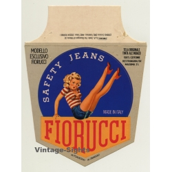 Rare Vintage Fiorucci Jeans Pinup Sticker / Decal  - Large...
