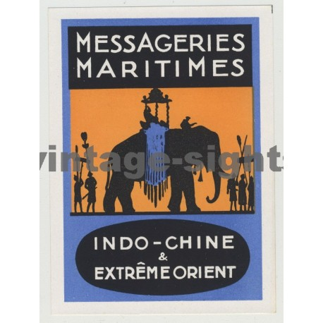Messageries Maritimes Shipping Company - Elephant (Vintage Luggage Label)