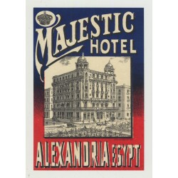 Majestic Hotel - Alexandria / Egypt (Vintage Luggage Label ~1920s)