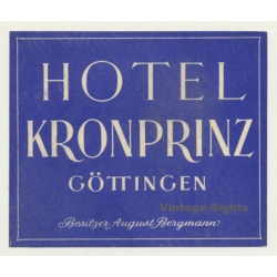 Göttingen / Germany: Hotel Kronprinz (Vintage Luggage Label)