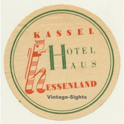 Kassel / Germany: Hotel Haus Hessenland (Vintage Luggage Label)