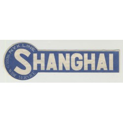 N.Y.K. Shipping Line To Shanghai (Vintage Luggage Label)