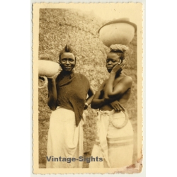 2 Native African Females Head-Carrying Goods / Risqué - Ethnic...