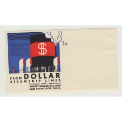 Dollar Steamship Lines / San Francsico - USA (Vintage Shipping Line Luggage Label)