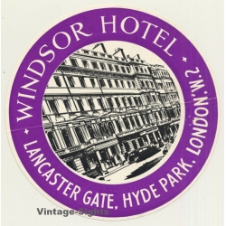 London / UK: Windsor Hotel - Hyde Park (Vintage Luggage Label)