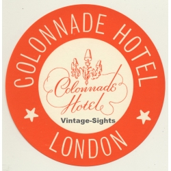 London / UK: Colonnade Hotel - Orange (Vintage Luggage Label)