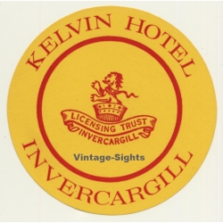 Invercargill / New Zealand: Kelvin Hotel (Vintage Luggage Label)