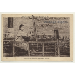 China: Chinese Orphan Girl Learns To Weave - Sien-Hsien...