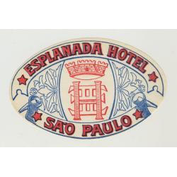 Esplanada Hotel Sao Paolo / Brazil (Vintage Luggage Label)