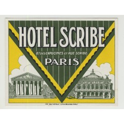 Hotel Scribe - Paris / France (Vintage Luggage Label)