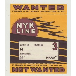N.Y.K. Shipping Line - Baggage Wanted In Cabin (Vintage Luggage Label)