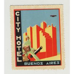 City Hotel - Buenos Aires / Argentina (Vintage Luggage Label / Art Deco)