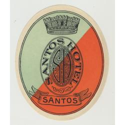 Santos Hotel - Santos / Brazil (Vintage Luggage Label)