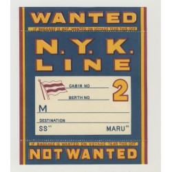 N.Y.K. Shipping Line - Baggage Wanted In Cabin 2nd Class (Vintage Luggage Label) MARU
