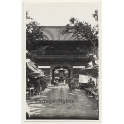 China: Entrance To Temple Complex / Stalls (Vintage Photo ~1930s)