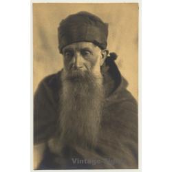 Old Belgian Monk With Huge Beard *1 (Vintage RPPC ~1910s/1920s)