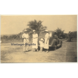 Congo-Belge: Belgian Family In Front Of Oldtimer / Tropical...