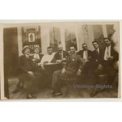 Belgian Men Outside A Brasserie / Chasse Royale (Vintage RPPC...