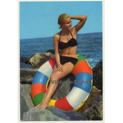 Pinup Girl On Colored Swim Ring / Bikini (Vintage PC C.Y.Z....