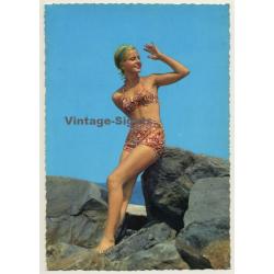 Blonde Pinup Girl Sits On Rock / Bikini (Vintage PC C.Y.Z....