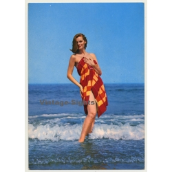 Red-haired Pinup Girl In The Surf / Towel (Vintage PC C.Y.Z....