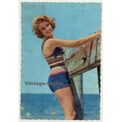 Blonde Pinup Girl At Beach / Swimsuit (Vintage PC C.Y.Z. ~1960s)
