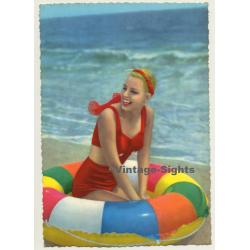 Blonde Pinup Girl In Swim Ring / Swimsuit (Vintage PC C.Y.Z....