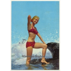 Blonde Pinup Girl In The Surf / Rocks - Swimsuit (Vintage PC...