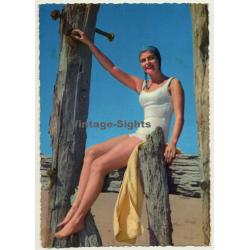 Tall Pinup Girl With Swim Cap / Swim Suit (Vintage PC C.Y.Z....