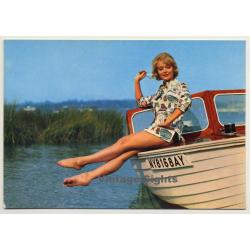 Blonde Pinup Girl Sits On Ship's Bow / Beachwear (Vintage PC...