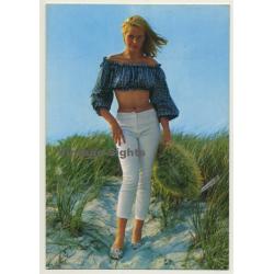 Blonde Pinup Girl In The Dunes / Bolero Top (Vintage PC C.Y.Z....