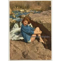 Blonde Pinup Girl On Rocks Near Stream (Vintage PC Ediciones...