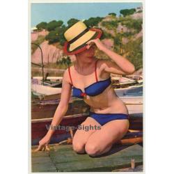 Pinup Girl On Boat Deck / Bikini - Sun Hat (Vintage PC Raker...