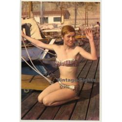 Pinup Girl On Boat Landing Stage / Bikini (Vintage PC Raker...
