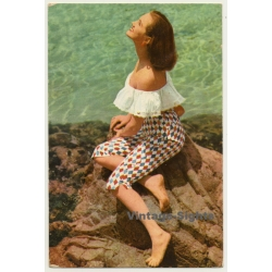 Brunette Pinup Girl On Rocks / Knickerbockers (Vintage PC...
