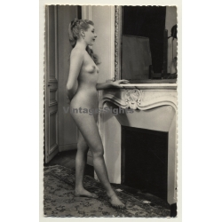 A. N. Paris: Blonde Nude In Front Of Fireplace / Boudoir -...
