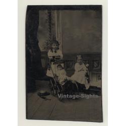 2 Baby Girls With Doll Pram / Victorean Era (Vintage...