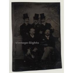 5 Elegant Men With Top Hats / Victorean Era (Vintage...