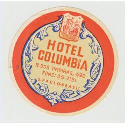 Hotel Columbia - Sao Paulo / Brazil (Vintage Luggage Label)